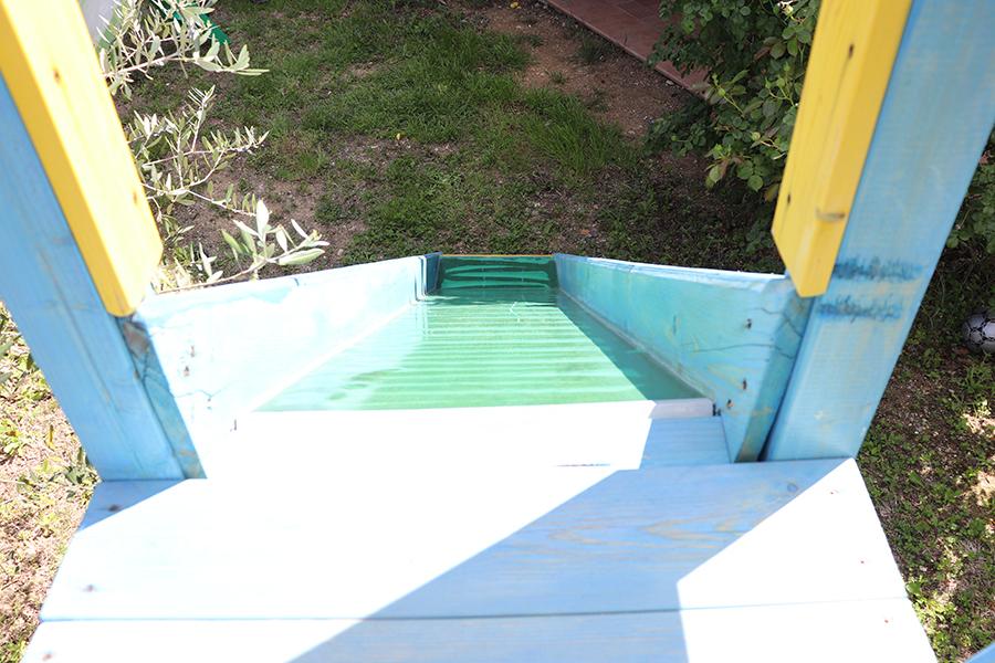 altalena da giardino in legno combinata con scivolo da giardino realizzata da linea legno dettaglio 2