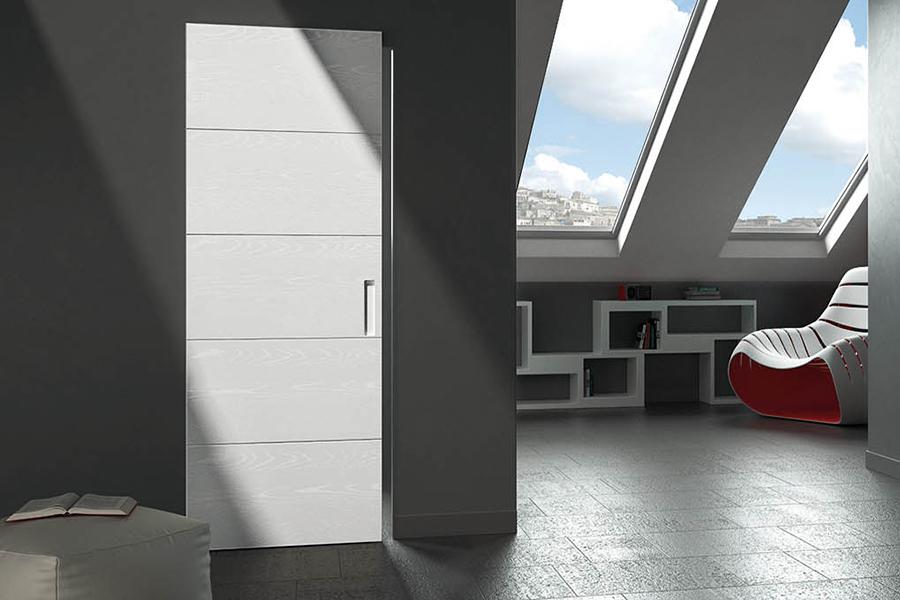 porta scorrevole da interno in legno bianco realizzata da linea legno
